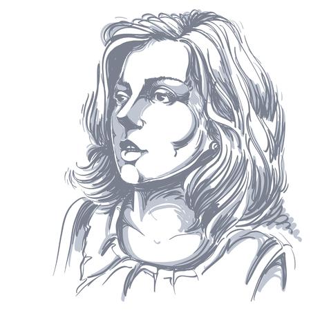 Monochrome vector met de hand getekende afbeelding, verbaasde jonge vrouw. Zwart-wit afbeelding van de witte huid ernstig meisje. Stock Illustratie