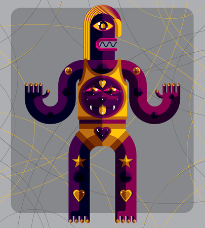 anthropomorphic: Graphic vector illustration, anthropomorphic character isolated on decorative background, decorative modern avatar made in cubism style.