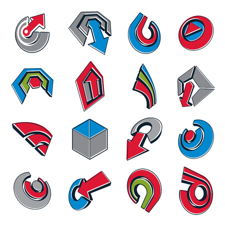 circular arrow: Vector 3d abstract icons set, simple corporate graphic design elements. Colorful marketing symbols set isolated on white background.