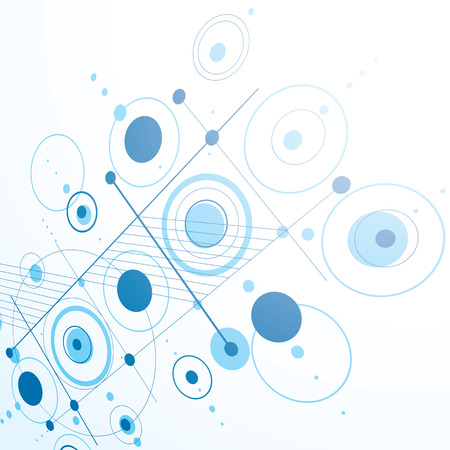 bauhaus: Modular Bauhaus 3d vector blue background, created from simple geometric figures like circles and lines. Best for use as advertising poster or banner design.
