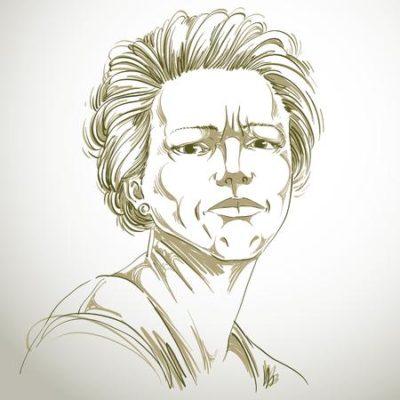 Vector tekening van boze vrouw met een stijlvol kapsel. Zwart-wit portret van aantrekkelijke dame uiten van twijfel, ongelovige. Stock Illustratie