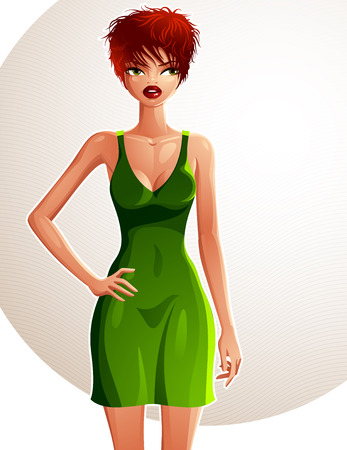 red hair beauty: Full-length portrait of a gorgeous red-haired sexy lady wearing a bright green summer dress, colorful drawing. Vector illustration of a stylish Caucasian lady holding her hand on a waist. Illustration