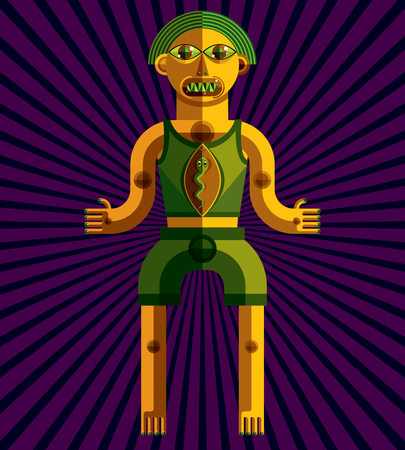 modernistic: Vector illustration of bizarre modernistic avatar, cubism theme picture. Colorful drawing of spiritual totem, fantastic shaman isolated on artistic decorative background. Illustration