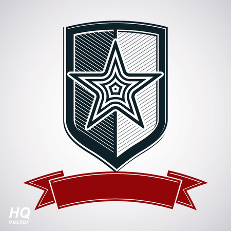 communistic: Vector shield with pentagonal Soviet star and decorative curvy ribbon, protection heraldic blazon. Communism and socialism conceptual symbol. Ussr classic design element, award. Illustration