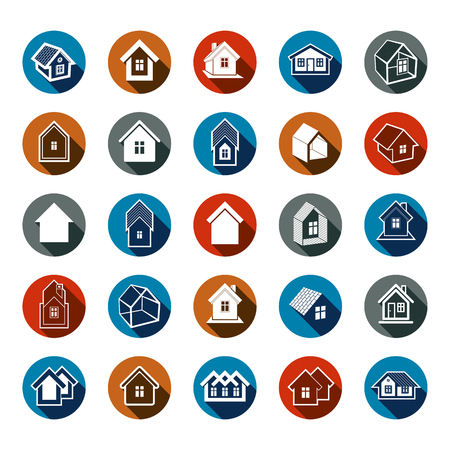 locality: Different houses icons for use in graphic design, set of mansion conceptual symbols, vector abstract property images. Real estate business abstract emblems collection. Illustration