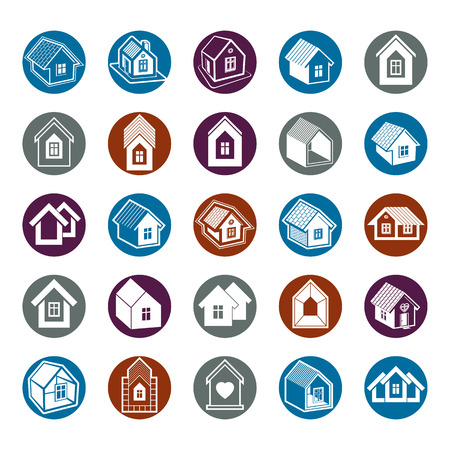 homely: Houses abstract icons, can be used in advertising and as branding in real estate business and construction. Set of simple buildings, vector architecture theme graphic symbol. Room for the newlyweds. Illustration