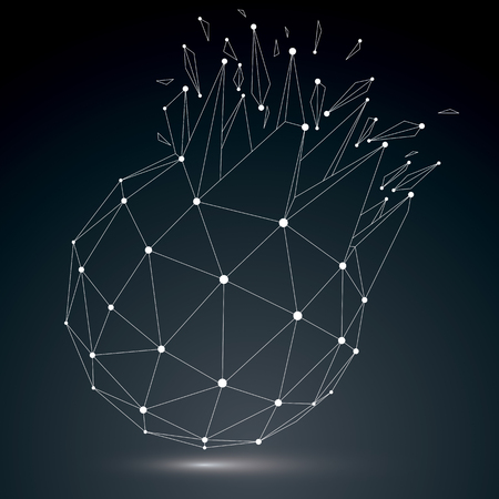luminescent: Vector dimensional wireframe luminescent object with white connected lines, spherical demolished shape with refractions and wreckage. 3d mesh global technology element broken into pieces. Illustration