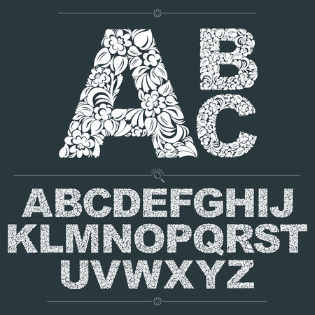 typescript: Set of vector ornate capitals, flower-patterned typescript. Black and white characters created using herbal texture.