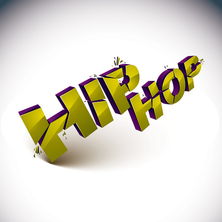 refractions: 3d shattered vector green hip hop word created with refractions. Dimensional inscription with specks isolated on white background.