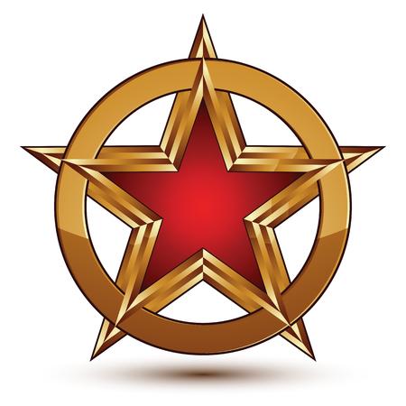 Refined vector red star emblem with golden borders, 3d pentagonal design element, clear EPS 8. 3d golden ring, polished glossy signet. Illustration