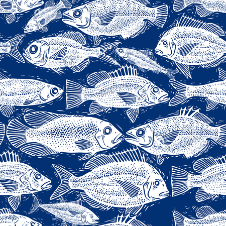underwater fishes: Vector seamless pattern with fishes, different species. Underwater life theme wallpaper, for use in graphic design. Illustration