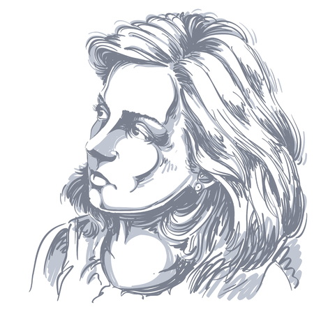calm woman: Vector drawing of peaceful woman with stylish haircut. Black and white portrait of attractive calm romantic lady.