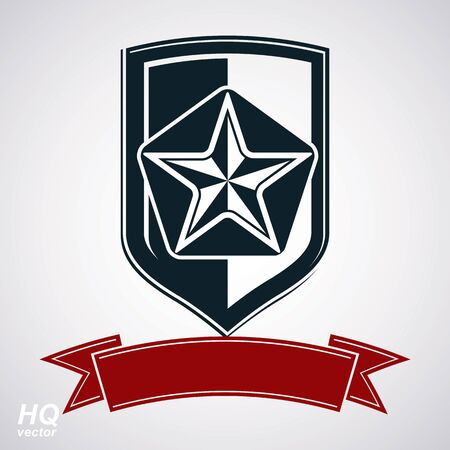 socialism: Vector shield with pentagonal Soviet star and decorative curvy ribbon, protection heraldic blazon. Communism and socialism conceptual symbol. Ussr classic design element, award. Illustration