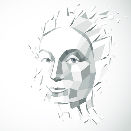 personality: Modern technological illustration of personality, 3d vector gray portrait. Intelligence metaphor, low poly face with splinters which fall apart, head exploding with ideas, thoughts and imagination. Illustration