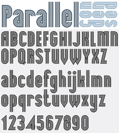 Parallel black and white font and numbers, striped poster letters.