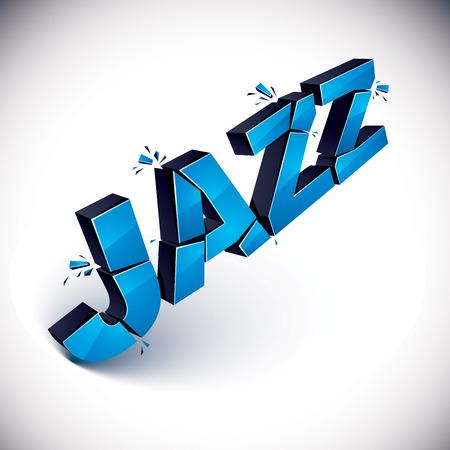 demolished: 3d blue jazz word broken into pieces, demolished vector design element. Shattered art stylish inscription.