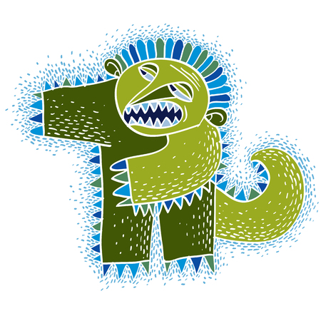fictitious: Vector cute Halloween character ogre, fictitious angry creature. Cool illustration of freak green monster.