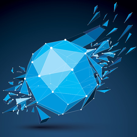 wrecked: Abstract asymmetric blue vector low poly wrecked object with different triangular particles. 3d origami futuristic form with 3d mesh and white connected dotted lines.