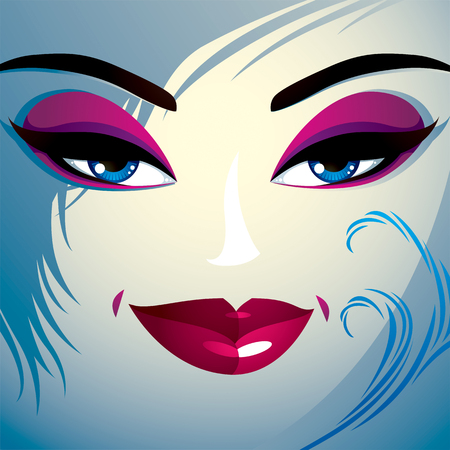 countenance: Coquette woman eyes and lips, stylish makeup and hairdo. People positive facial emotions. Illustration