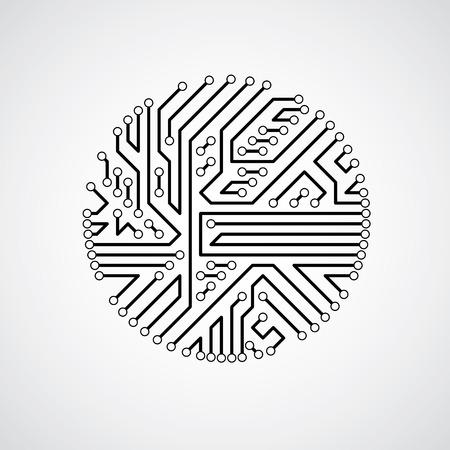 未来のサイバネティック方式、マザーボードの黒と白のベクトル図です。回路基板のテクスチャーを持つ円形要素。