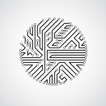 Futuristic cybernetic scheme, vector motherboard black and white illustration. Circular element with circuit board texture.