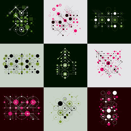 avant: Set of vector Bauhaus abstract backgrounds made with grid and overlapping simple geometric elements, circles and lines. Retro style artworks, graphic templates for advertising poster. Illustration