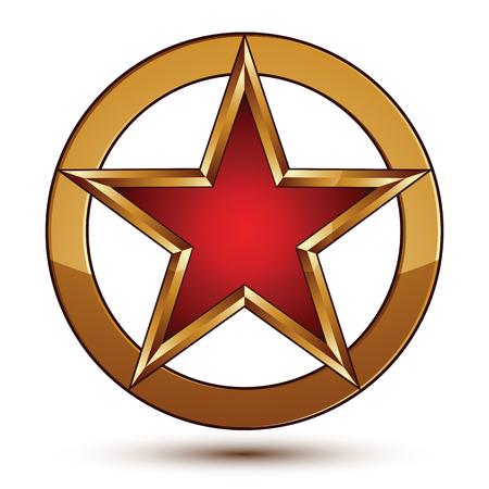 signet: Refined vector red star emblem with golden borders, 3d pentagonal design element, clear EPS 8. 3d golden ring, polished glossy signet. Illustration