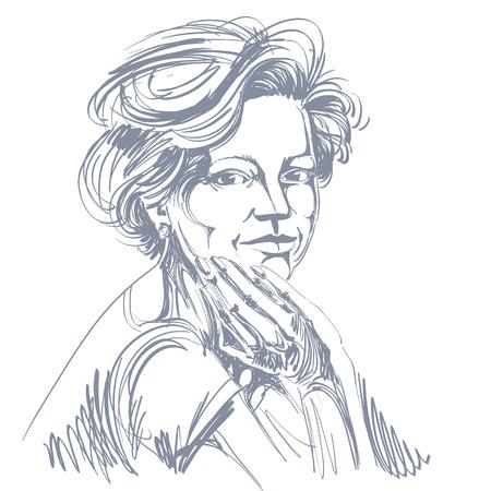 Vector tekening van vertrouwen elegante vrouw met een stijlvol kapsel. Zwart-wit portret van aantrekkelijke vreedzame dame. Stock Illustratie