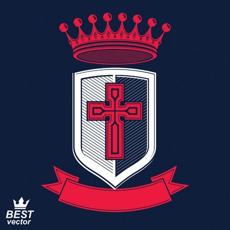 insignia: Insignias imperiales, vector escudo real con banda decorativa y corona monarca. Escudo eps8 detallada de armas, rey símbolo de guardia con la cruz - Web elemento de diseño. Cruzada.