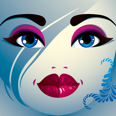coquette: Facial emotions of a young pretty woman with a modern haircut. Coquette lady visage, expressive human eyes, lips and locks.