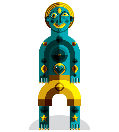 karma graphics: Avant-garde avatar, colorful drawing created in cubism style. Modernistic geometric portrait, vector illustration of idol. Illustration