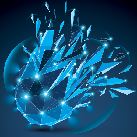 light effect: 3d vector clear blue digital wireframe object broken into different particles, geometric polygonal structure with lines mesh and light effect. Low poly shattered glow shape, sparkle lattice form.