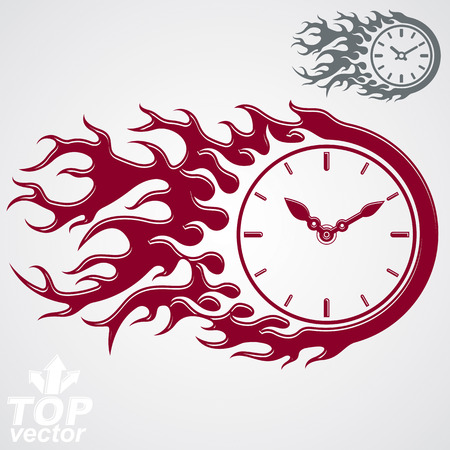 out of use: Time is out concept, vector clock with burning fire. Deadline theme stylized illustration web element, best for use in graphic design. Illustration