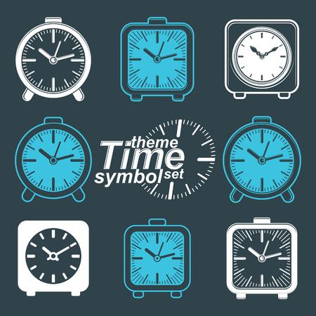 inverse: Set of vector simple elegant inverse table clocks. Time theme web design elements.