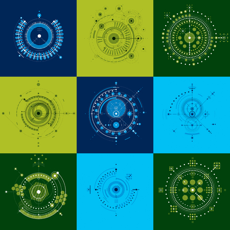 bauhaus: Bauhaus art, set of decorative modular vector wallpapers made using circles. Retro style pattern, graphic backdrops for use as booklet cover templates. Illustration of engineering system.