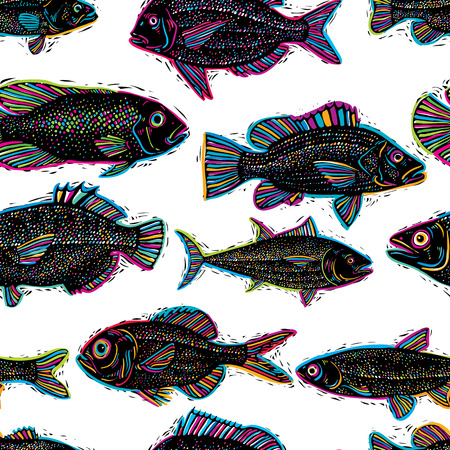 species: Vector seamless pattern with fishes, different species. Underwater life theme wallpaper, for use in graphic design. Illustration