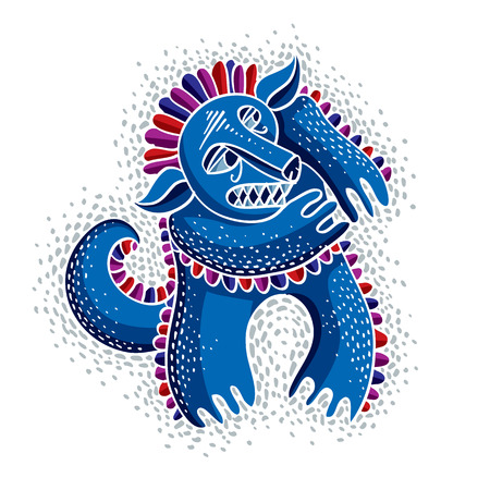 fictitious: Vector cute Halloween character ogre, fictitious angry creature. Cool illustration of freak blue monster.