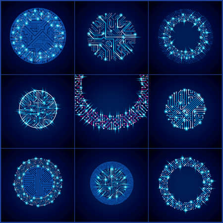 schemes: Set of futuristic cybernetic schemes with multidirectional arrows, vector blue motherboards with neon lights. Circular gleam elements with circuit board texture.