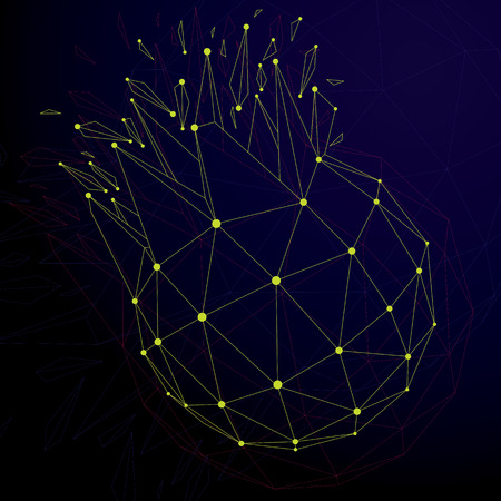 3d vector digital wireframe spherical object broken into different particles and refractions, geometric polygonal structure with lines mesh. Low poly shattered shape, cyberspace lattice form.