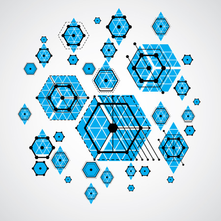 bauhaus: Bauhaus art, decorative modular vector wallpaper made using striped hexagons and circles. Retro style pattern, graphic backdrop for use as booklet cover template. Illustration of engineering system.
