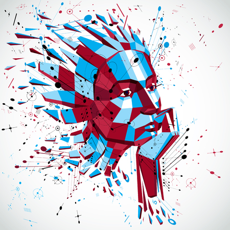 futuristic woman: Futuristic 3d vector background made using Bauhaus elements. Head of woman exploding with thoughts created in low poly style, can be used in posters and presentations on subject of human imagination.