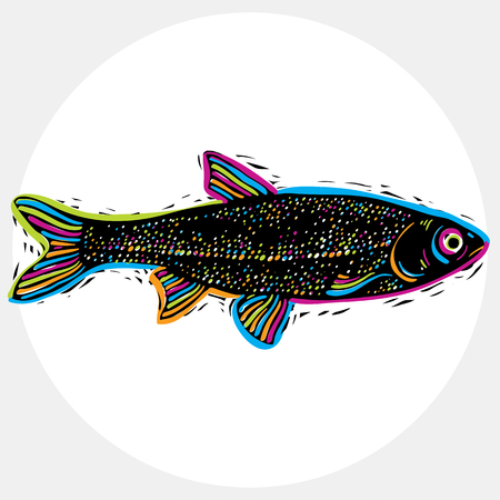 species: Fish species, vector marine fauna symbol. Hand drawn silhouette of fish, healthy eating. Zoology theme symbol, can be used in graphic design. Illustration