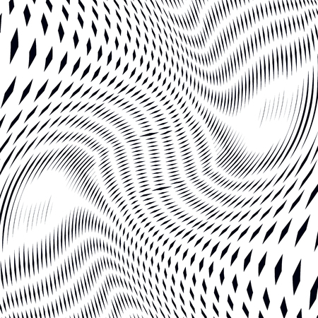 op art: Moire pattern, op art vector background. Relaxing hypnotic backdrop with geometric black lines. Abstract tiling.