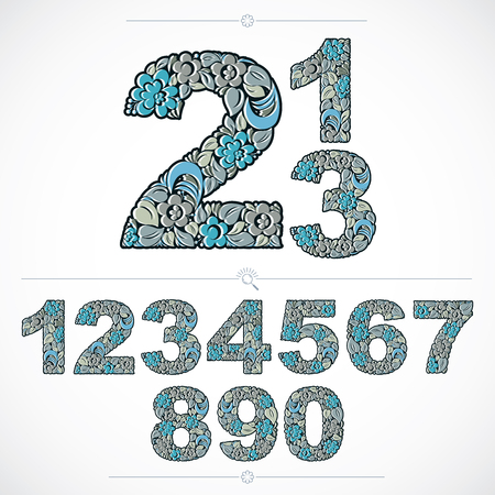 flowery: Ecology style flowery numbers, blue vector numeration made using natural ornament. Digits created with spring leaves and floral design. Illustration