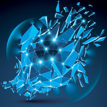 3 d ベクトル クリアブルー デジタル ワイヤ フレーム オブジェクト別の粒子に分割ライン メッシュと光効果を持つ幾何学的多角形構造。低ポリ粉々 になった形状の輝きと、格子の輝き。