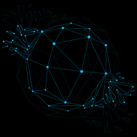 luminescent: Vector dimensional wireframe luminescent object with blue connected lines, spherical demolished shape with refractions and wreckage. 3d mesh global technology element broken into pieces.
