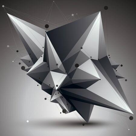 forme geometrique: Résumé objet vecteur monochrome asymétrique avec des lignes noires maille, forme géométrique complexe.