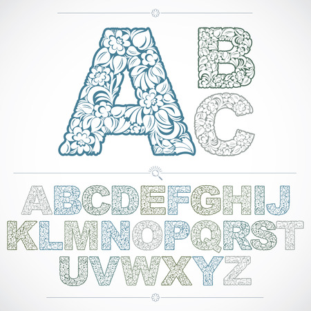 typescript: Set of beautiful capital letters decorated with herbal ornament. Colorful vector typescript made in floral style. Illustration