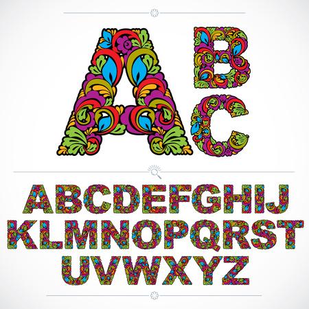 Fonte floral, letras do alfabeto capital vector desenhados à mão, decorados com padrão botânico. Datilografado decorativo colorido, rotulação do projeto do vintage.