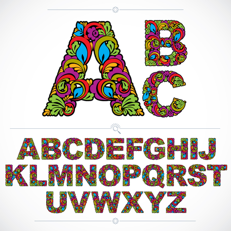 Floral font, hand-drawn vector capital alphabet letters decorated with botanical pattern. Colorful ornamental typescript, vintage design lettering. Illustration